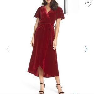 Beautiful maroon velvet faux wrap dress